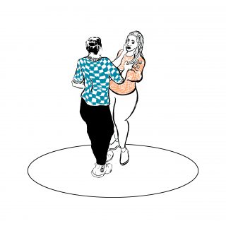 illustration of two people stood talking