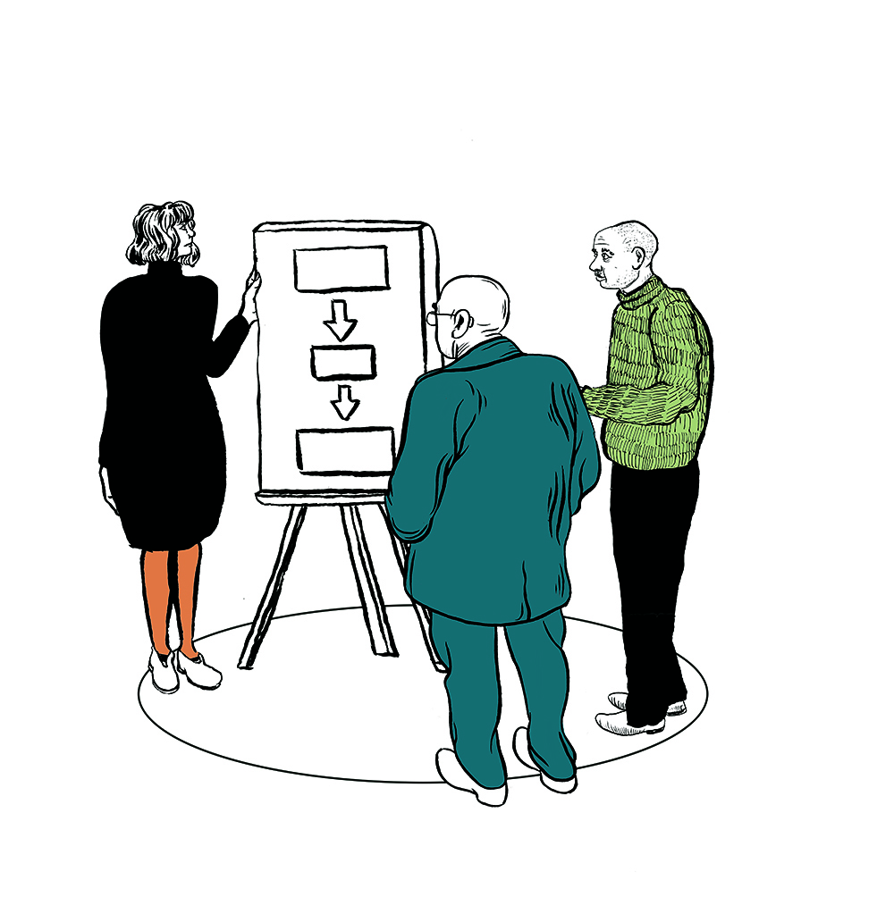 Illustration of a person pointing at a flipboard and two people stood watching