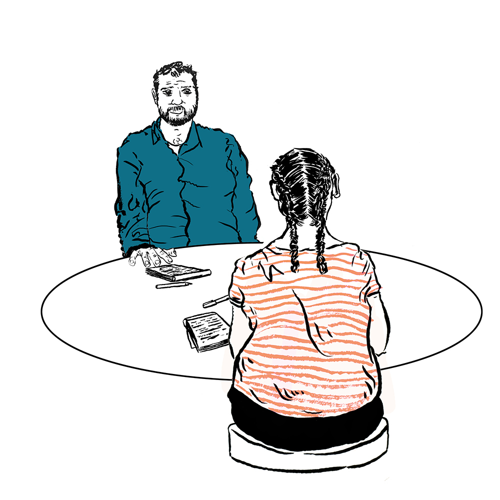 Illustration of two people at table